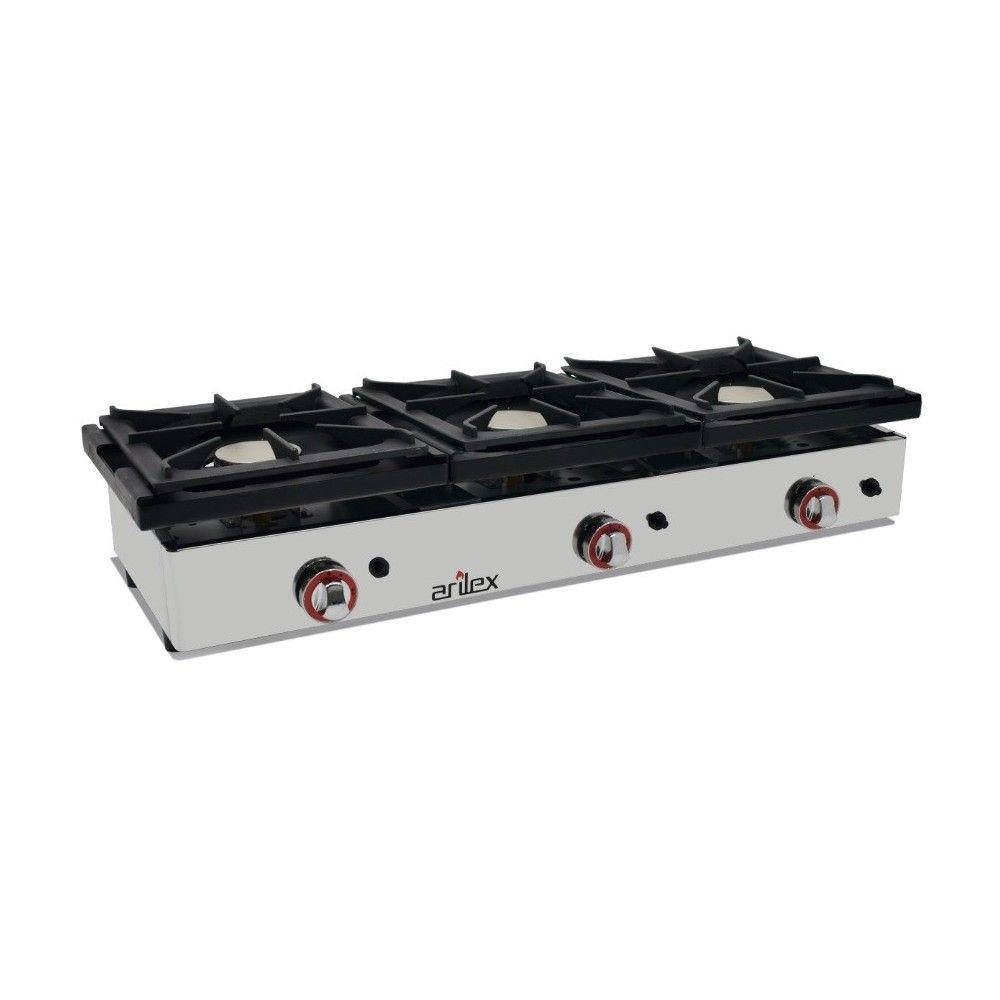 Cocina a Gas Sobremesa alta potencia 3 Fuegos 6 + 6 + 6 Kw