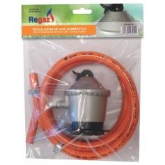 KIT REGULADOR GAS DOMESTICO + MANGUERA 1,5mts + ABRAZADERAS