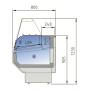 Vitrina Expositora Refrigerada Cristal Recto Fondo 800 MM por 1 Metro de Largo Docriluc