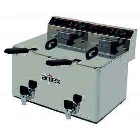 Freidora Eléctrica de 10+10 Litros Con grifo y Zona Fria