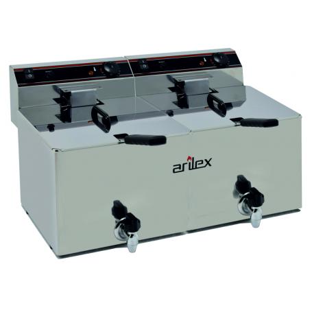 Freidora Eléctrica de 12+12 Litros Con grifo y Zona Fria