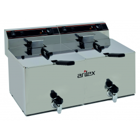 Freidora Eléctrica de 12+12 Litros Con grifo y Zona Fria (Trifasica)